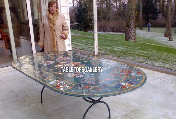 12'x6' Marble Multi Beautiful Table Dining With Stand Inlay Garden Decor H3747
