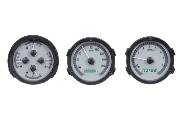 Dakota Digi. 68-69 Oldsmobile Cutlass Analog Gauges Silver White VHX-68O-CUT-S-W
