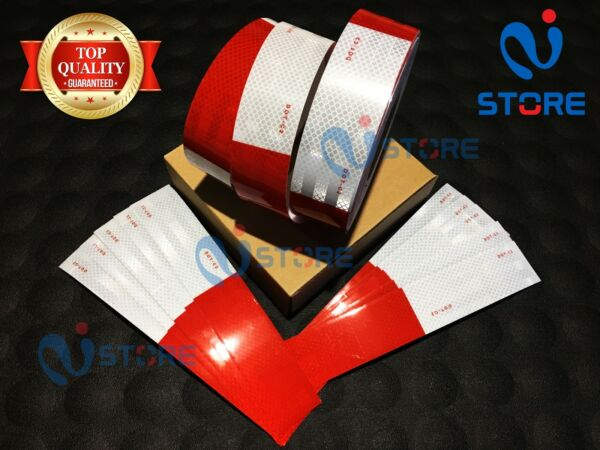 75 Ft DOT C2 Reflective Tape 6quot; Red 6quot; White Safety Warning Truck Trailer Bike $24.99