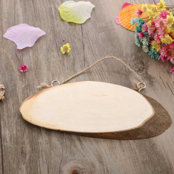 Wooden Wood Log Slices Discs Oval Decorative w Hole Rustic Wedding Pyrography