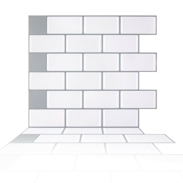 Peel and Stick Tile Backsplash,White Subway Tiles Backsplash for Kithcen,20-Pack