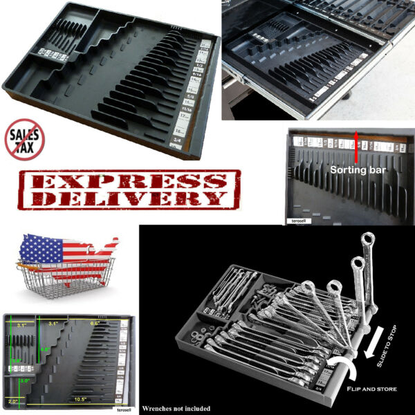 Wrench Organizer Tool Sorter Holder Craftsman Rack Rail Toolbox Snapon Black USA