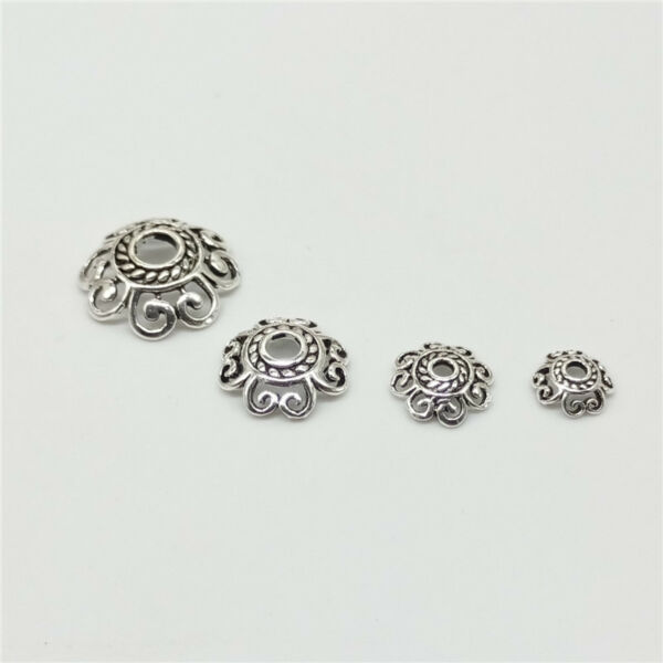 15 of 925 Sterling Silver Hollow Spiral Bead Caps for Bracelet Bead Spacers