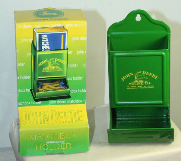 VINTAGE STYLE JOHN DEERE TIN LITHO KITCHEN Fireplace MATCH SAFE Dispenser HOLDER