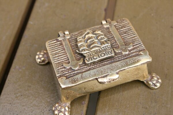 BRASS STAMP BOX WITH VICTORY SHIP