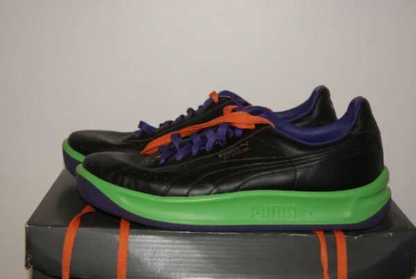 Mens Puma GV Special Black Green Purple Leather Shoes Sz 6.5 or 7 or 7.5 or 9