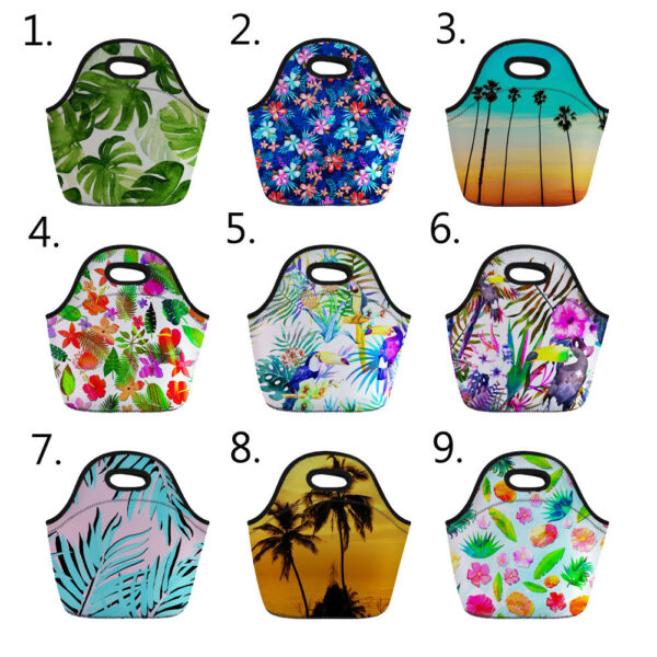 Tropical Style Lunch Bag Picnic Insulated Food Box Container School Meal Package