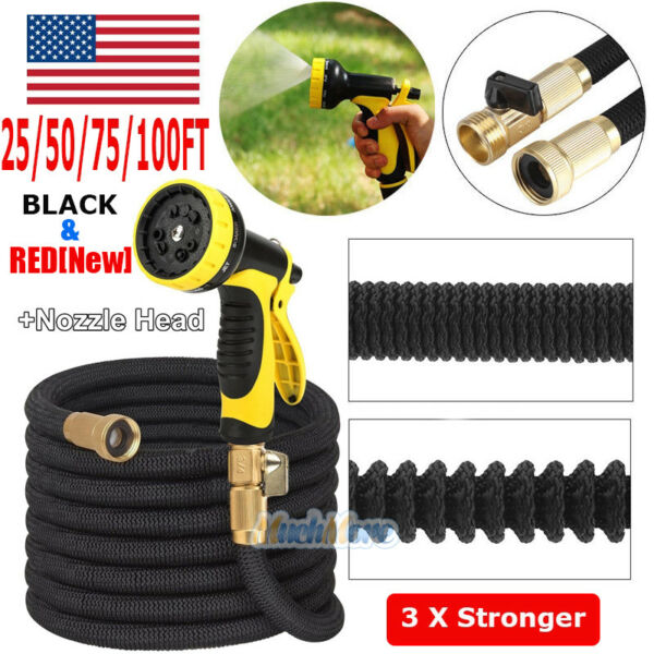 3X Stronger Deluxe 25-100 FT Expandable Flexible Garden Water Hose+Spray Nozzle