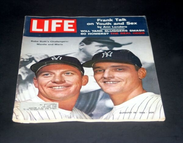 LIFE MAGAZINE AUGUST 18 1961 MICKEY MANTLE & ROGER MARIS