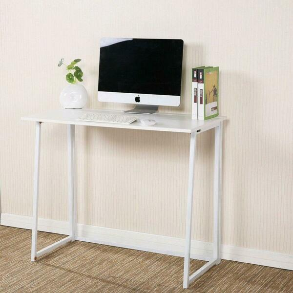 Modern Folding Computer Desk Home Office Study PC Writing Table Furniture White