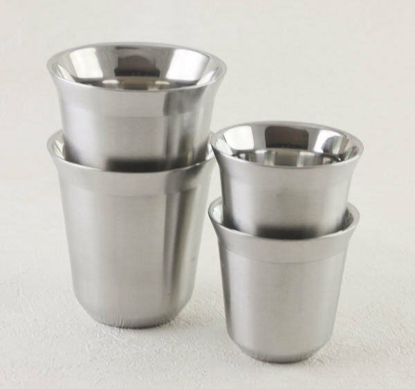 Nespresso PIXIE style Lungo Stainless Steel Cups ESPRESSO Collections 80ML 150ML