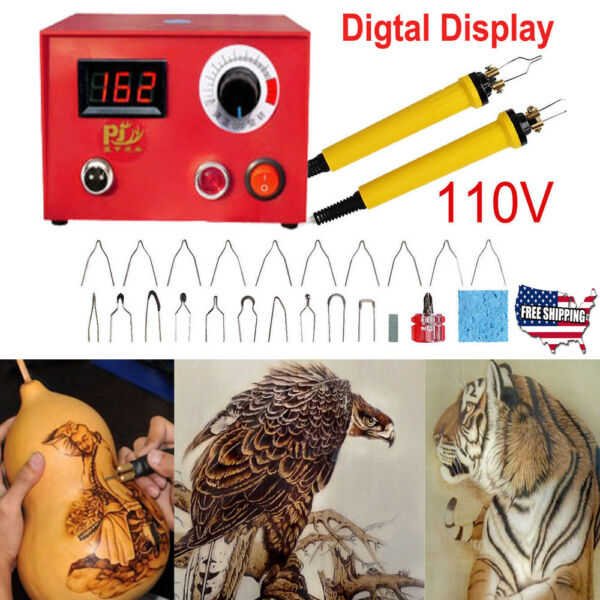 50W 110V LCD Wood Burning Pyrography Machine Art Dual Pen Craft Tools+20 Kits US