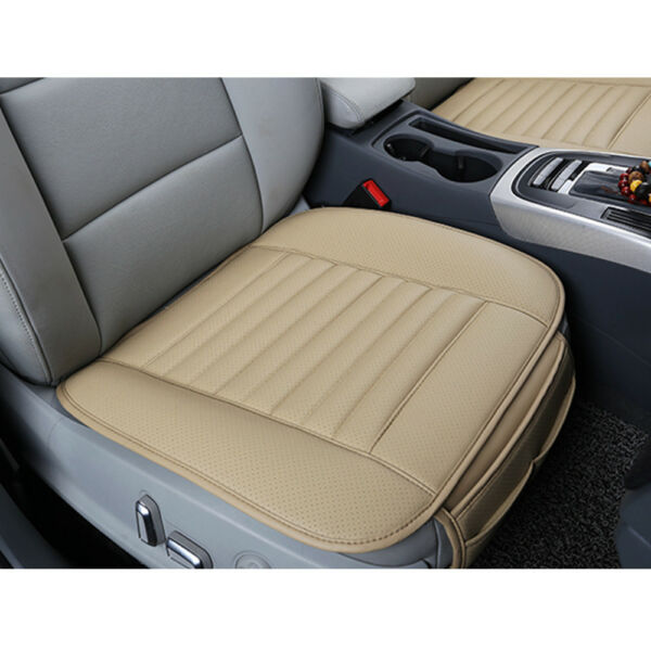 US Universal 21x19'' Beige Car PU Leather Bamboo Charcoal Seat Cover Pad Chair