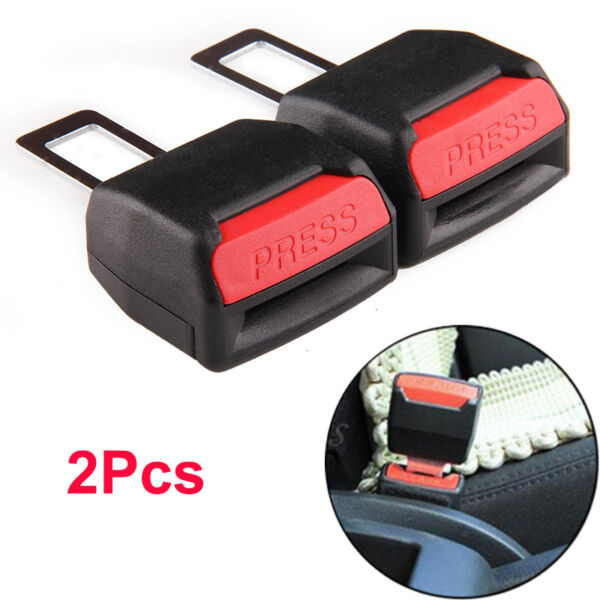 2pc Car Safety Security Seat Belt Clip Extension Extender Buckle Universal Black