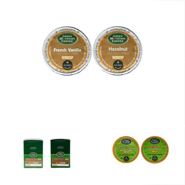Green Mountain FRENCH VANILLA DECAF & HAZELNUT Flavored Variety Pack 48 K-Cups