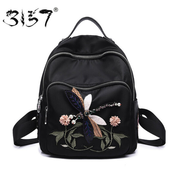3157 Handmade Embroidery Flower Women Fashion Backpacks School Bags for Teenage