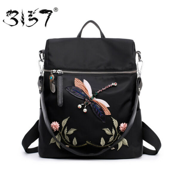 3157 Fashion Backpack Women Nylon School Bags for Teenage Girls Dragonfly