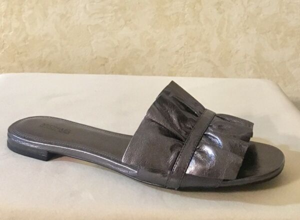 Women Michael Kors Bella Slide Sandal Slip on Metallic Leather gunmetal