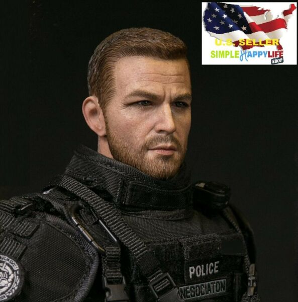 1 6 male head sculpt police for Hot toys phicen 12quot; figure worldbox BD001 ❶USA❶