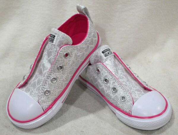 Converse CT All Star Simple Slip OX Silver/Pink Toddler Girl's Sneakers-Asst Szs