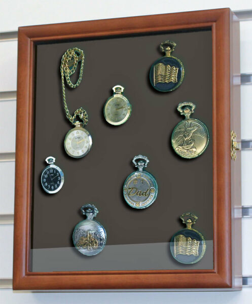 Display Case Shadow Box Cabinet  for Pocket Watches  Wall Mount  W-KC02-WA