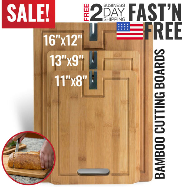 Kitchen Bamboo Cutting Board Set Wood Small Large Big Serving Chopping Block