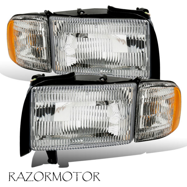 1994-01 Replacement Headlights w/Bulb and Corner Signal Pair For Dodge Ram Truck