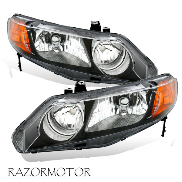 2006-2011 Replacement Headlight Pair For Honda Civic 4 Dr Sedan Black Housing