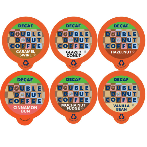 Double Donut Decaf Flavored Coffee K-Cups Variety Pack 72 Ct Sampler Recyclable