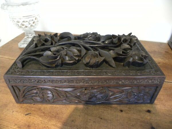 Superbly carved  Indian box .  antique or vintage circa 1930s ?