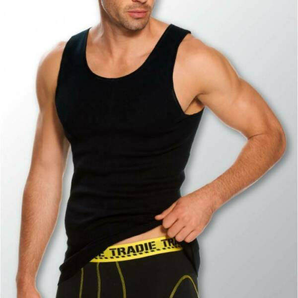 Mens 3 Pack Tradie S-2XL Pure Cotton Tank Singlets Black Work or Leisure Wear