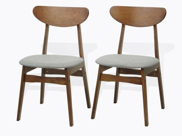 Set of 2 Solid Wood Yumiko Dining Kitchen Modern Side Chairs Medium Brown Finish