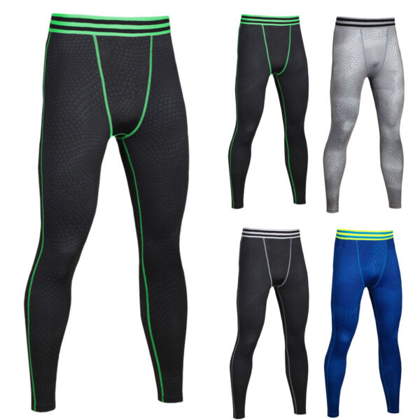 Mens Compression Long Pant Base Layer Sports Workout Leggings Tops Fitness
