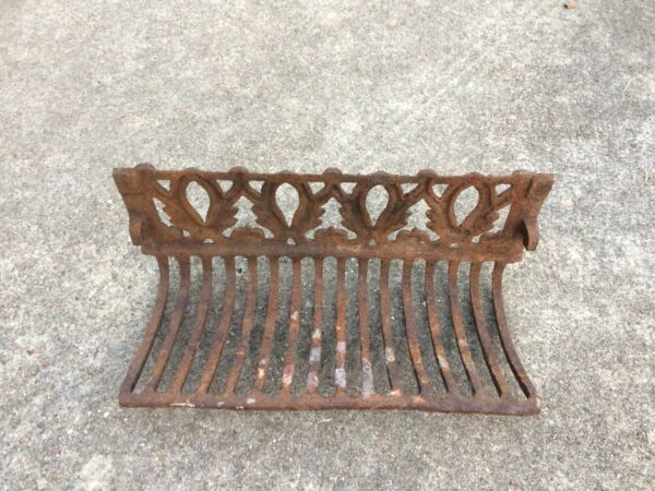 Antique ornate cast iron fireplace grate insert log Holder