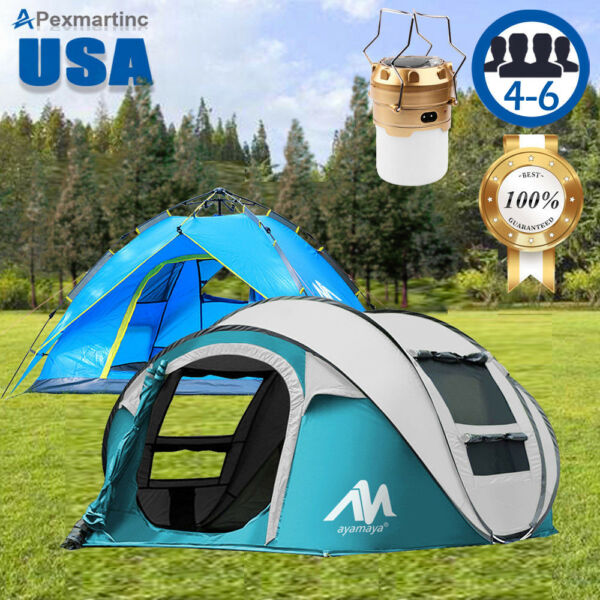 Double layer Instant Pop Up Tent Outdoor 4-6 Person Portable Camping Cabin Tent