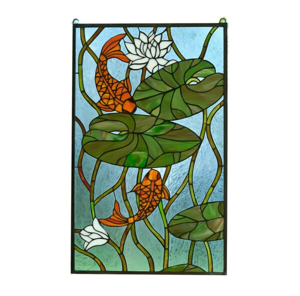 20.5quot; x 34.75quot; Fish Play under Lotus Tiffany Style stained glass window panel