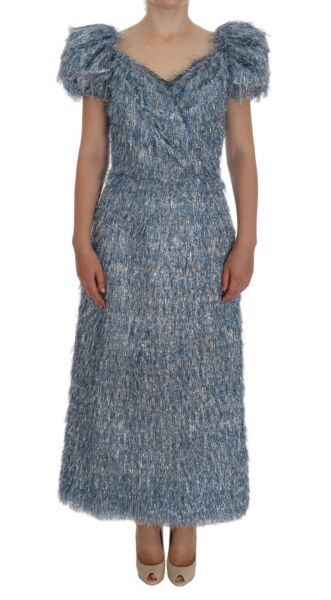 NEW $5200 DOLCE & GABBANA Dress Blue Ruffled Fringes Long Sheath IT36  US2  XS