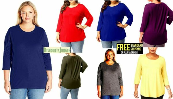 Women#x27;s Plus Size T SHIRT Scoop Neck Bamboo Top Casual Soft Loose Fit 1X 2X 3X $15.99