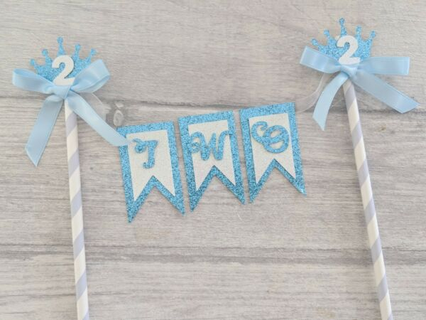 Second birthday boy blue bunting cake topper prince age glitter crown 2 2nd two