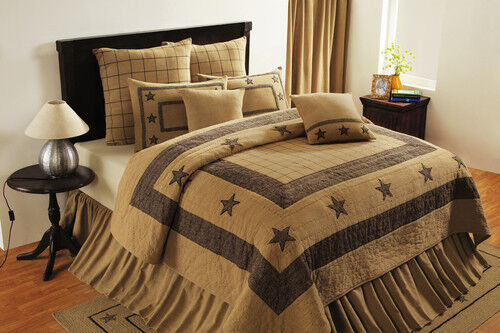 country primitive farmhouse Burlap Star Black & Tan hand quilted QUILT bedspread