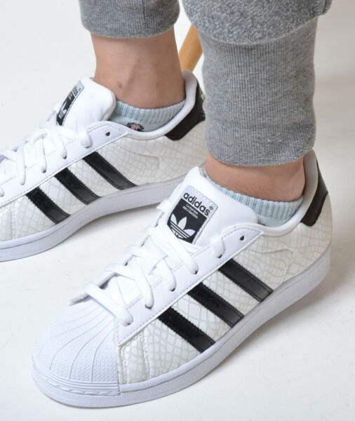 Mens Adidas Superstar Classic Sneakers New White / Black Snakeskin d70171 sku
