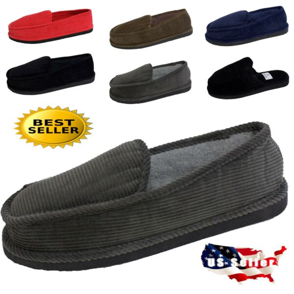MEN#x27;S SLIPPERS HOUSE SHOES MOCCASIN CORDUROY SLIP ON amp; OPEN BACK SIZE 4 13 $9.99