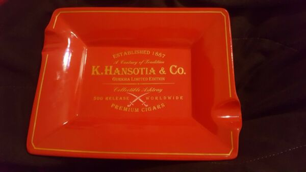 Limited Edition Large Red Gurkha Cigar Ashtray Only 500 Produced