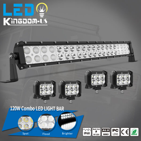24inch 120W LED Light Bar Spot Flood Combo 4x 4quot; Pods Fog SUV 4WD ATV 22quot;