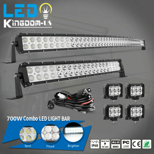 52Inch 700W LED Light Bar Combo 22quot; 120W 4quot; 18W PODS OFFROAD TRUCK SUV 4WD