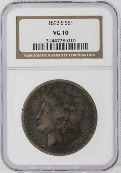 1893 S NGC VG 10 $1 Morgan Dollar Silver U.S. San Francisco Graded Coin KEY DATE