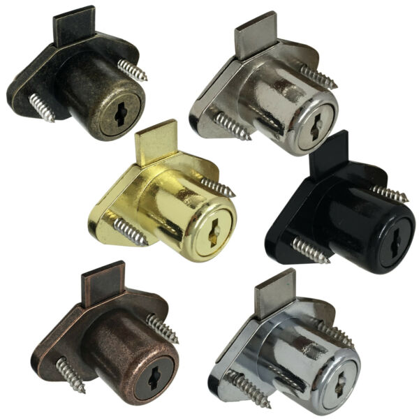 Desk Drawer Lock 7 8quot; Bore w Trim Ring amp; 2 Keys 6 Finishes Available