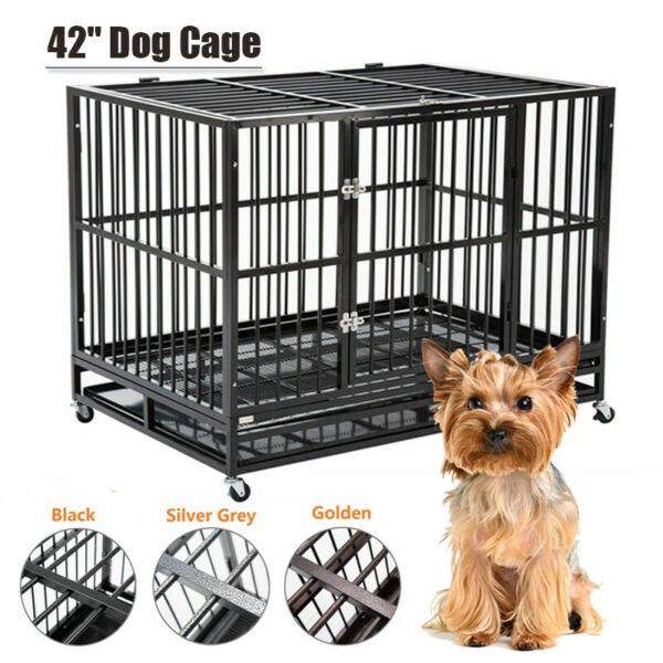 42quot; Heavy Duty Dog Cages Crate Kennel Metal Pet Playpen Exercise w Trayamp; Wheels $194.99