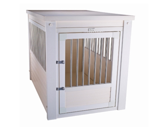 Small Breed Dog Kennel White End Table Cage Crate Pet Wooden Medium Puppy Bed