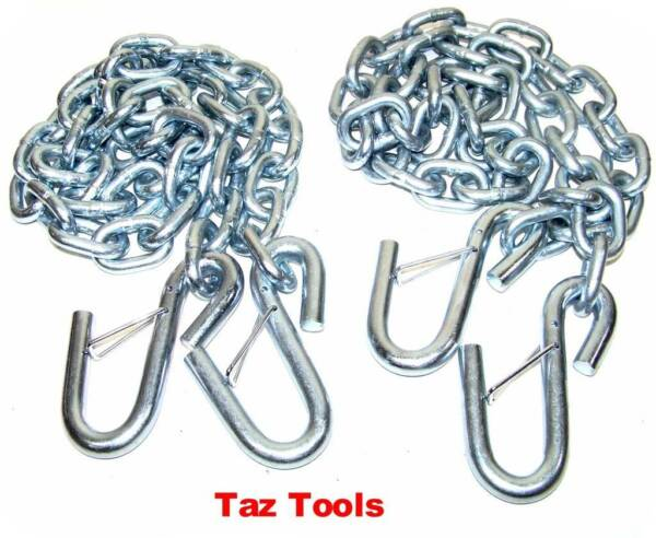 2 Hitch Trailer Safety Chain 1 4quot; x 4ft w S Hooks Safety Latches Towing Pulling $24.74